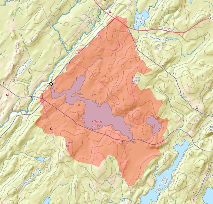 Clary Lake watershed boundary from StreamStats mapping program
