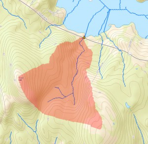 Screenshot from the StreamStats program showign the watershed associated with the stream flowing into Clary Lake at the Jefferson/Whitefield town line.